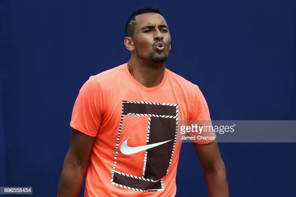 Nick Kyrgios of Australia reacts during a practice session ahead of the Aegon Championships at Queens Club on June 16 2017 in London England