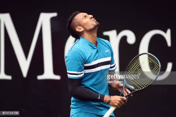 Nick Kyrgios of Australia reacts during his match against Maximilian Marterer of Germany during day 4 of the Mercedes Cup at Tennisclub Weissenhof on...