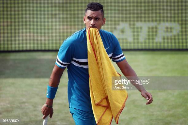 Nick Kyrgios of Australia reacts during his match against Roger Federer of Switzerland during day 6 of the Mercedes Cup at Tennisclub Weissenhof on...