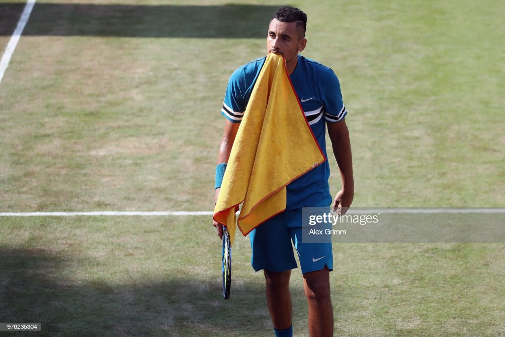 Nick Kyrgios of Australia reacts during his match against Roger Federer of Switzerland during day 6 of the Mercedes Cup at Tennisclub Weissenhof on June 16, 2018 in Stuttgart, Germany.
