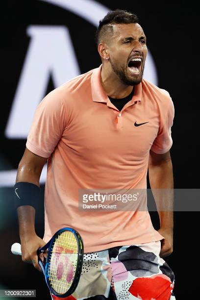 Nick Kyrgios of Australia reacts during his Men's Singles first round match against Lorenzo Sonego of Italy on day two of the 2020 Australian Open at...