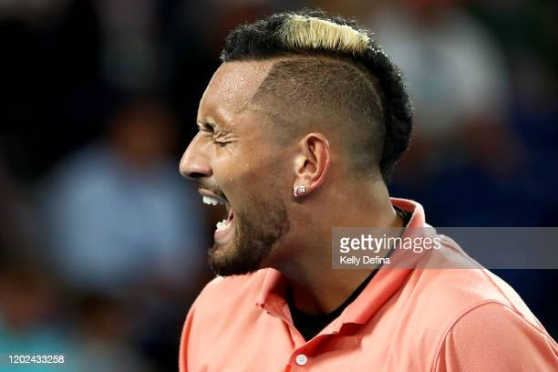 Nick Kyrgios of Australia reacts during his Men's Singles fourth round match against Rafael Nadal of Spain on day eight of the 2020 Australian Open...