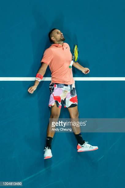 Nick Kyrgios of Australia reacts during his Men's Singles match against Rafael Nadal of Spain on day eight of the 2020 Australian Open at Melbourne...