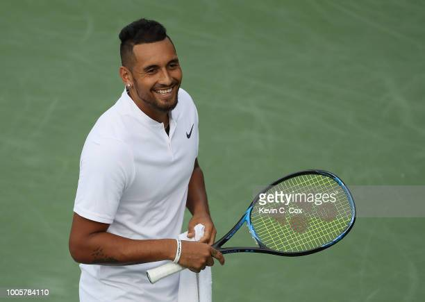 Nick Kyrgios of Australia reacts during the changover after the first game against Noah Rubin during the BBT Atlanta Open at Atlantic Station on July...