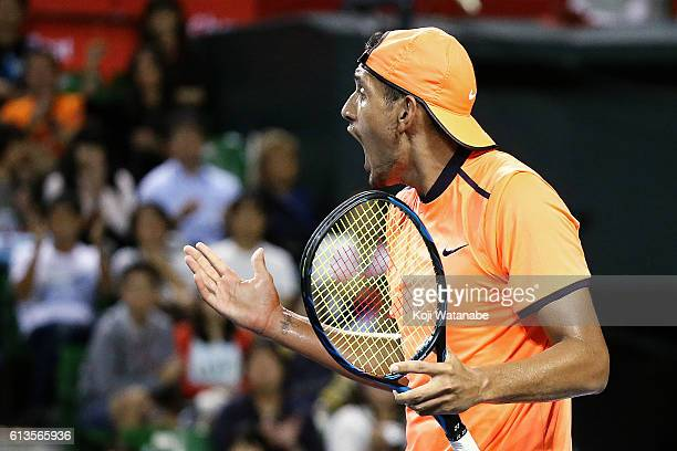 Nick Kyrgios of Australia reacts during the men's singles final match against David Goffin of Belgium on day seven of Rakuten Open 2016 at Ariake...