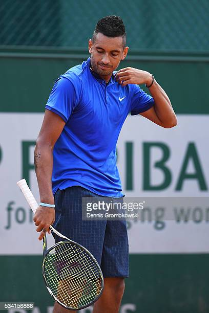 Nick Kyrgios of Australia reacts during the Men's Singles second round match against Igor Sijsling of Netherlands on day four of the 2016 French Open...