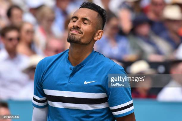Nick Kyrgios of Australia reacts during the semi final singles match on day six of Fever Tree Championships at Queen's Club London on June 23 2018