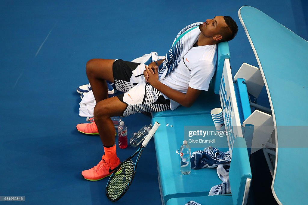 Nick Kyrgios of Australia reacts in his chair in his second round match against Andreas Seppi of Italy on day three of the 2017 Australian Open at Melbourne Park on January 18, 2017 in Melbourne, Australia.