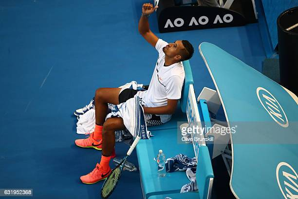 Nick Kyrgios of Australia reacts in his chair in his second round match against Andreas Seppi of Italy on day three of the 2017 Australian Open at...