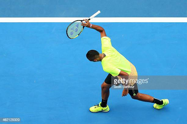 Nick Kyrgios of Australia reacts in his fourth round match against Andreas Seppi of Italy during day seven of the 2015 Australian Open at Melbourne...