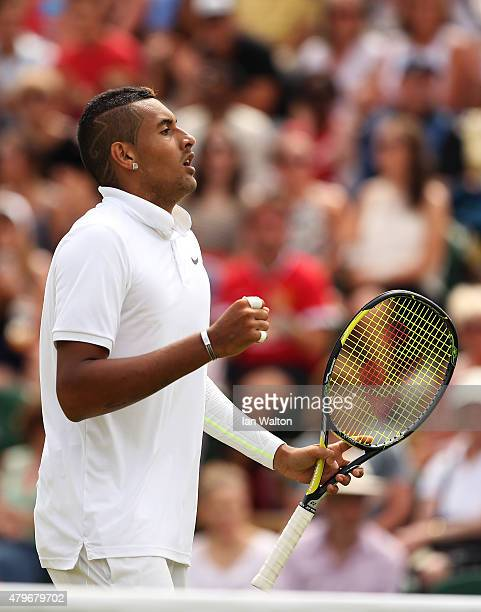Nick Kyrgios of Australia reacts in his Gentlemen's Singles Fourth Round match against Richard Gasquet of France during day seven of the Wimbledon...