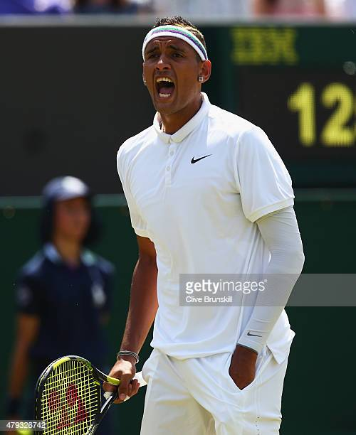 Nick Kyrgios of Australia reacts in his Gentlemen's Singles Third Round match against Milos Raonic of Canada during day five of the Wimbledon Lawn...