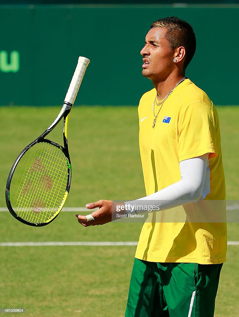 Nick Kyrgios of Australia reacts in his match against Aleksandr Nedovyesov of Kazakhstan during day one of the Davis Cup World Group quarterfinal tie between Australia and Kazakhstan at Marrara Sporting Complex on July 17, 2015 in Darwin, Australia.