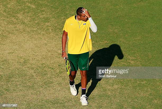 Nick Kyrgios of Australia reacts in his match against Aleksandr Nedovyesov of Kazakhstan during day one of the Davis Cup World Group quarterfinal tie...