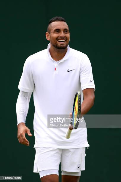 Nick Kyrgios of Australia reacts in his Men's Singles first round match against Jordon Thompson of Australia during Day two of The Championships -...