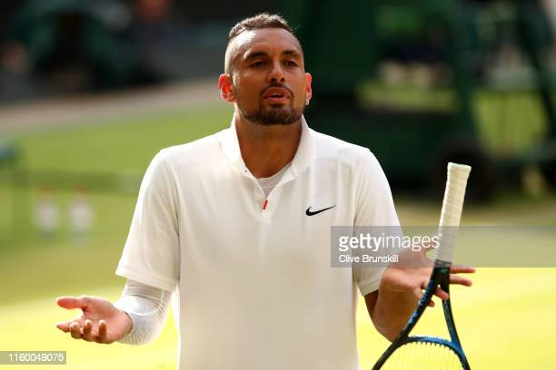 Nick Kyrgios of Australia reacts in his Men's Singles second round match against Rafael Nadal of Spain during Day four of The Championships Wimbledon...