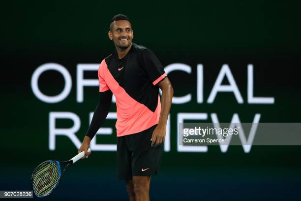 Nick Kyrgios of Australia reacts in his third round match against JoWilfried Tsonga of France on day five of the 2018 Australian Open at Melbourne...