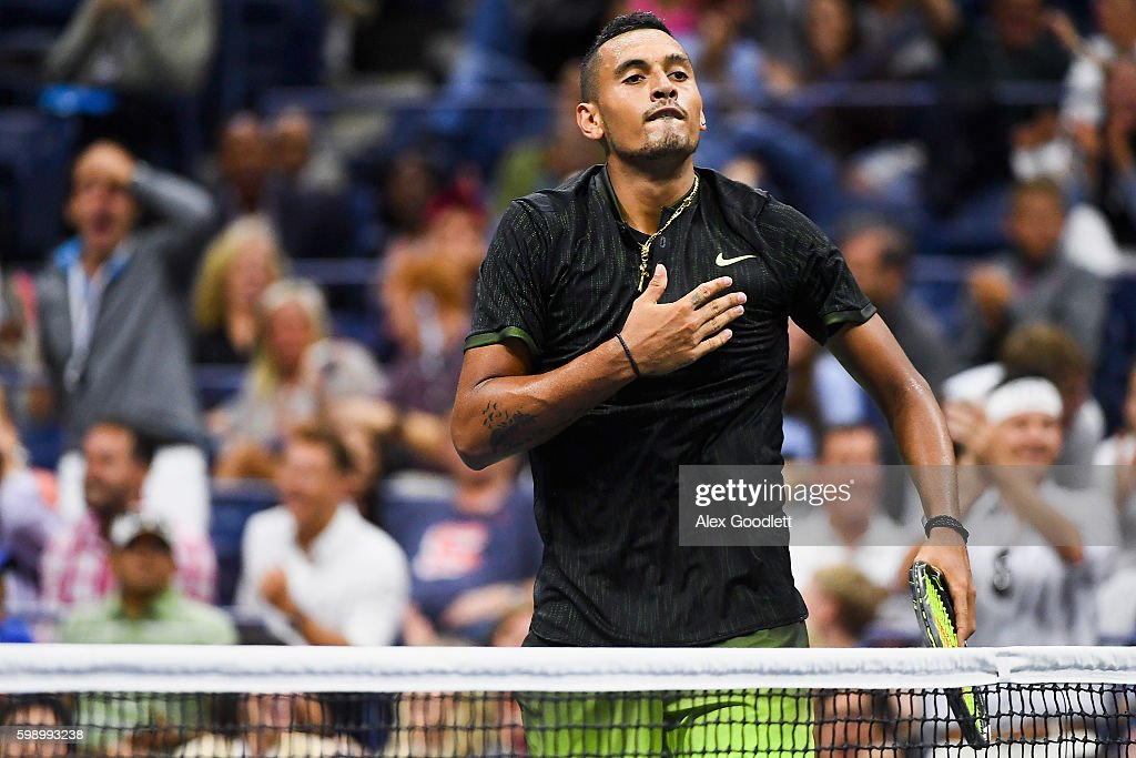 Nick Kyrgios of Australia reacts to Illya Marchenko of the Ukraine during his third round Men's Singles match on Day Six of the 2016 US Open at the USTA Billie Jean King National Tennis Center on September 3, 2016 in the Flushing neighborhood of the Queens borough of New York City.