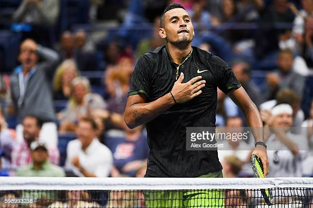 Nick Kyrgios of Australia reacts to Illya Marchenko of the Ukraine during his third round Men's Singles match on Day Six of the 2016 US Open at the...
