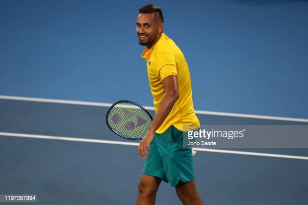 Nick Kyrgios of Australia reacts to winning the match against Jan-Lennard Struff of Germany during day one of the 2020 ATP Cup Group Stage at Pat...
