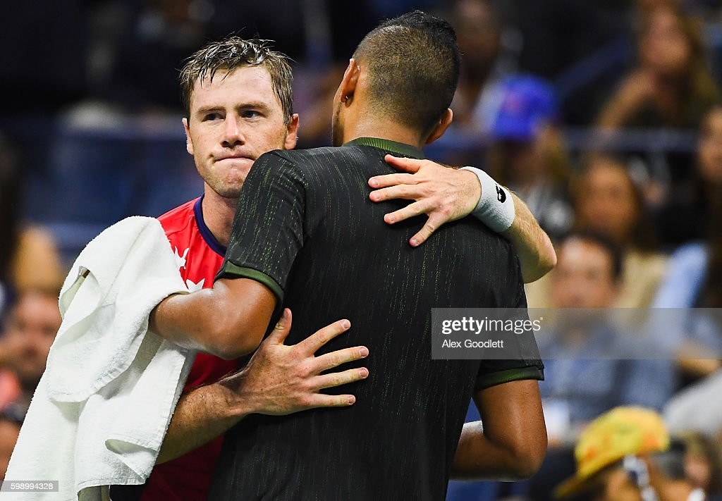 Nick Kyrgios of Australia retires against Illya Marchenko of the Ukraine during his third round Men's Singles match on Day Six of the 2016 US Open at the USTA Billie Jean King National Tennis Center on September 3, 2016 in the Flushing neighborhood of the Queens borough of New York City.