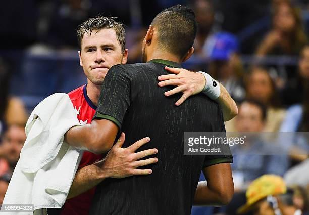 Nick Kyrgios of Australia retires against Illya Marchenko of the Ukraine during his third round Men's Singles match on Day Six of the 2016 US Open at...