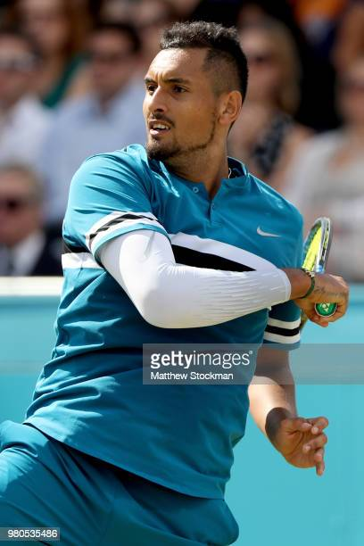 Nick Kyrgios of Australia returns a shot during his men's singles match against Kyle Edmund of Great Britain on Day Four of the FeverTree...