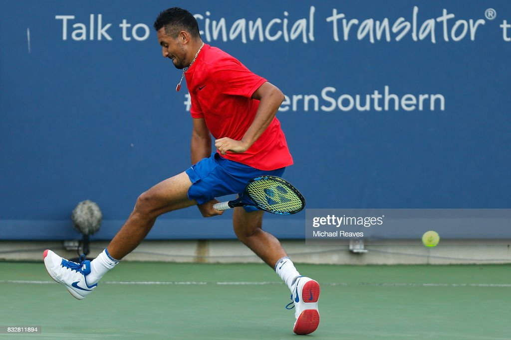 Nick Kyrgios of Australia returns a shot to Alexandr Dolgopolov of Ukraine during Day 5 of the Western and Southern Open at the Lindner Family Tennis Center on August 16, 2017 in Mason, Ohio.