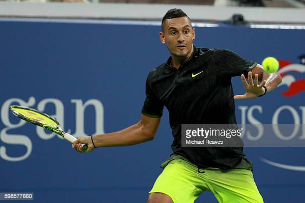Nick Kyrgios of Australia returns a shot to Horacio Zeballos of Argentina during his second round Men's Singles match on Day Four of the 2016 US Open...