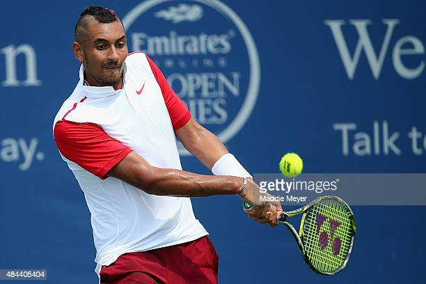 Nick Kyrgios of Australia returns a shot to Richard Gasquet of France during their first round match on Day 4 of the Western & Southern Open at the...