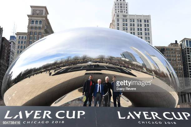 Nick Kyrgios of Australia Rod Laver John McEnroe and Roger Federer of Switzerland pose at Cloud Gate before the Laver Cup 2018 Chicago Launch on...