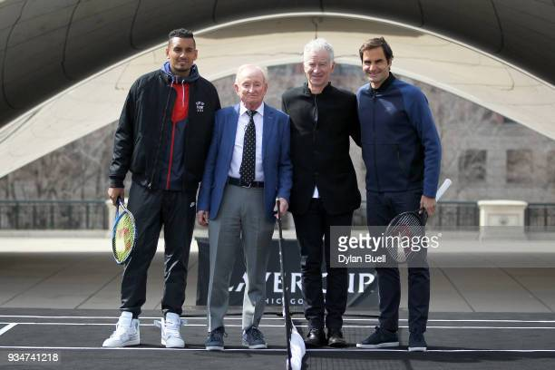 Nick Kyrgios of Australia Rod Laver John McEnroe and Roger Federer of Switzerland pose for photos during the Laver Cup 2018 Chicago Launch at Cloud...