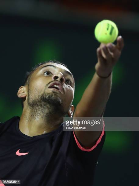 Nick Kyrgios of Australia serves against Alexander Zverev of Germany in their fourth round match during the Miami Open Presented by Itau at Crandon...