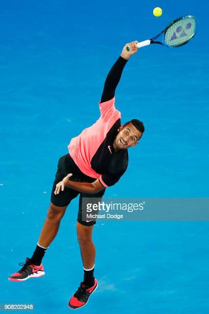 Nick Kyrgios of Australia serves against Grigor Dimitrov of Bulgaria in his fourth round match against Nick Kyrgios of Australia on day seven of the...