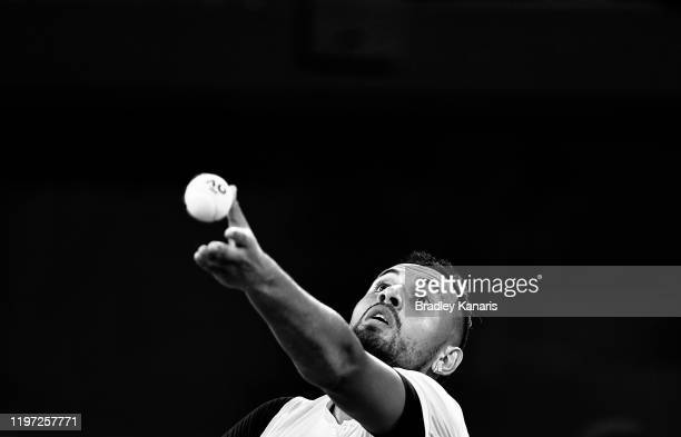 Nick Kyrgios of Australia serves against Jan-Lennard Struff of Germany during day one of the 2020 ATP Cup Group Stage at Pat Rafter Arena on January...