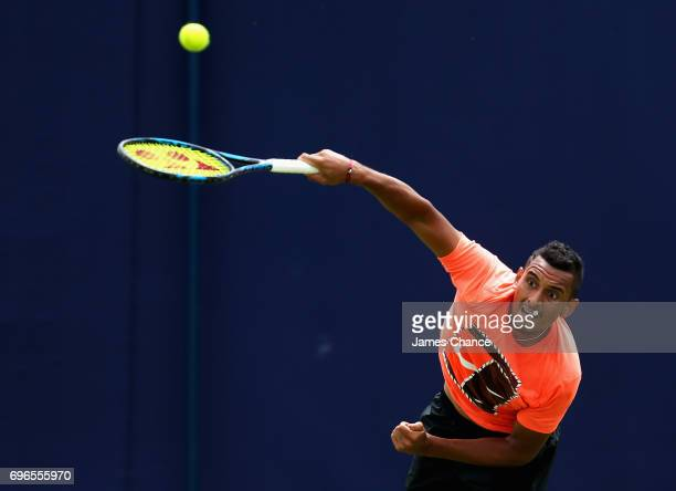 Nick Kyrgios of Australia serves during a practice session ahead of the Aegon Championships at Queens Club on June 16 2017 in London England