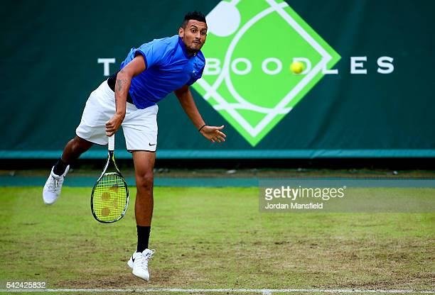 Nick Kyrgios of Australia serves during his match against Juan Monaco of Argentina during day three of The Boodles Tennis Event at Stoke Park on June...