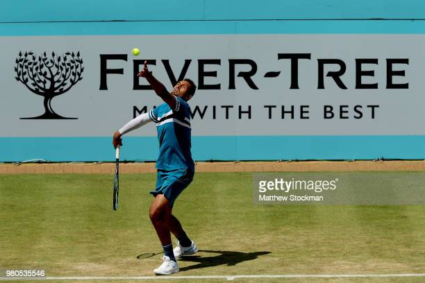Nick Kyrgios of Australia serves during his men's singles match against Kyle Edmund of Great Britain on Day Four of the FeverTree Championships at...