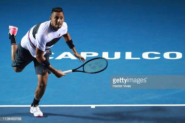 Nick Kyrgios of Australia serves during the final match between Nick Kyrgios of Australia and Alexander Zverev of Germany as part of the day 6 of the...