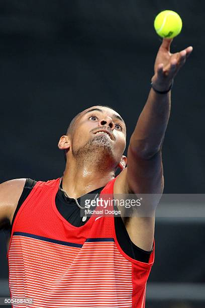 Nick Kyrgios of Australia serves in his first round match against Pablo Carreno Busta of Spain during day one of the 2016 Australian Open at...