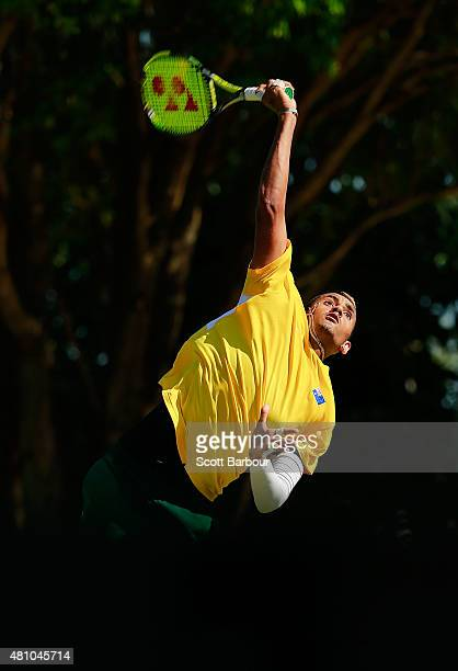 Nick Kyrgios of Australia serves in his singles match against Aleksandr Nedovyesov of Kazakhstan during day one of the Davis Cup World Group...