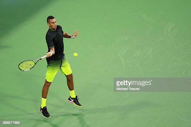 Nick Kyrgios of Australia serves to Horacio Zeballos of Argentina during his second round Men's Singles match on Day Four of the 2016 US Open at the...