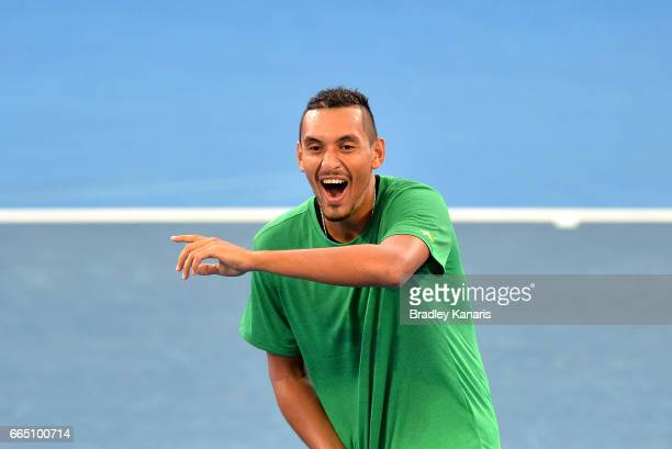 Nick Kyrgios of Australia shares a laugh with team mates during practice for the Davis Cup World Group Quarterfinals between Australia and the USA at...