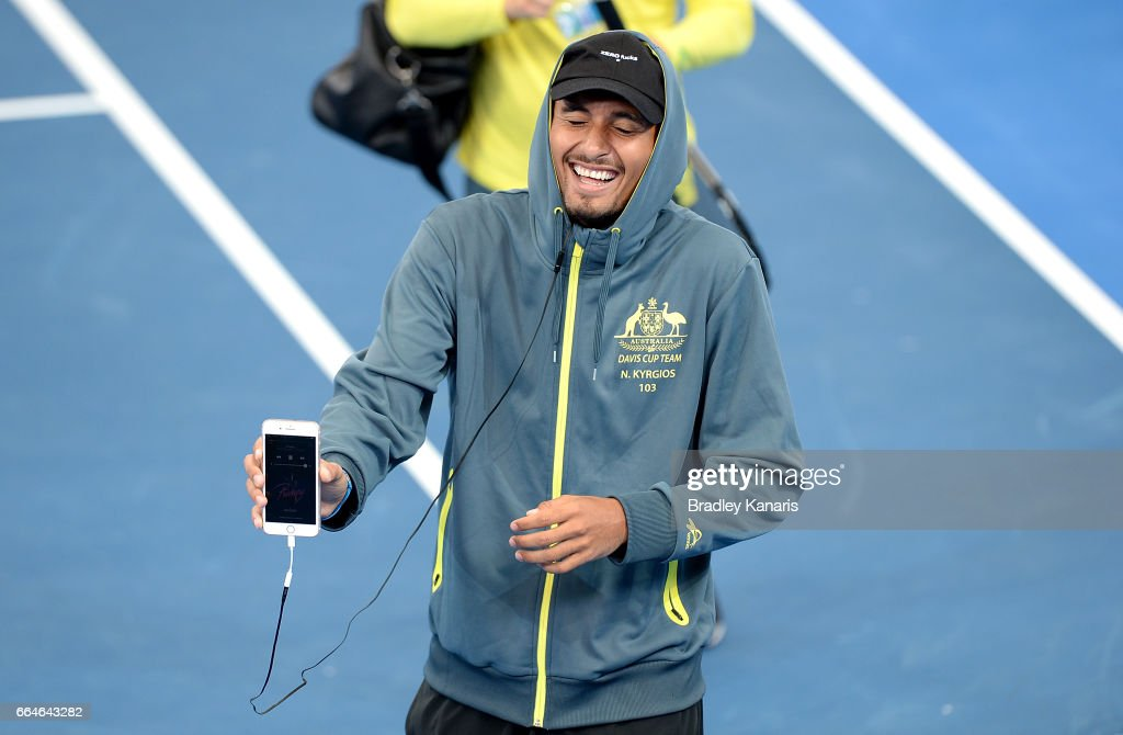 Nick Kyrgios of Australia shares a laugh with team mates during practice ahead of the Davis Cup World Group Quarterfinal match between Australia and the USA at Pat Rafter Arena on April 5, 2017 in Brisbane, Australia.