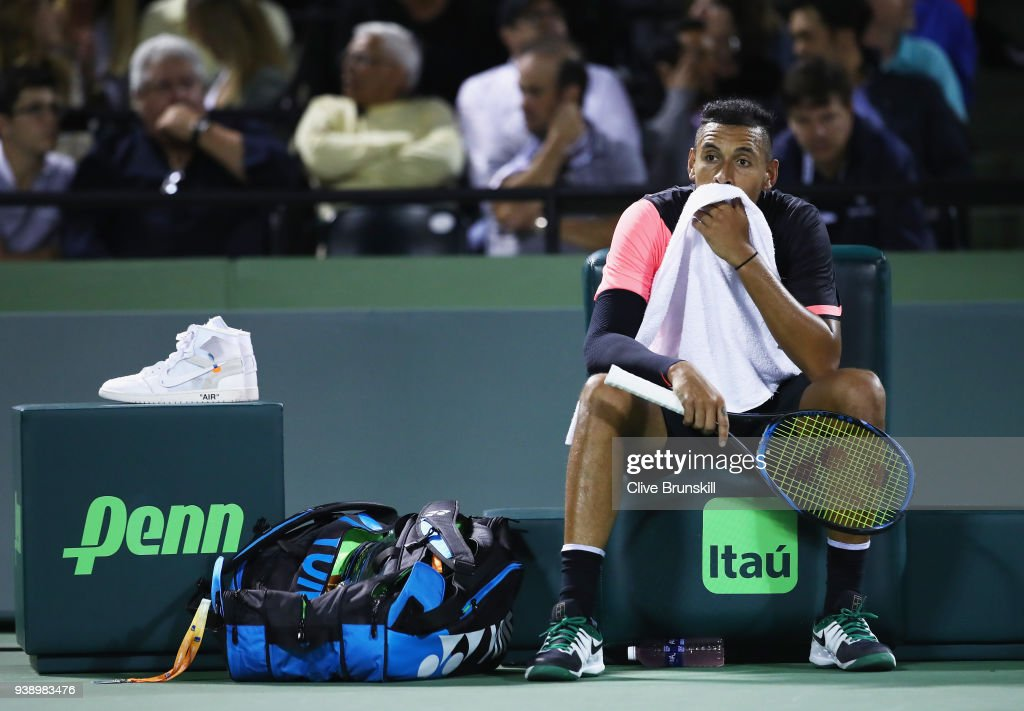 Nick Kyrgios of Australia shows his emotion against Alexander Zverev of Germany in their fourth round match during the Miami Open Presented by Itau at Crandon Park Tennis Center on March 27, 2018 in Key Biscayne, Florida.