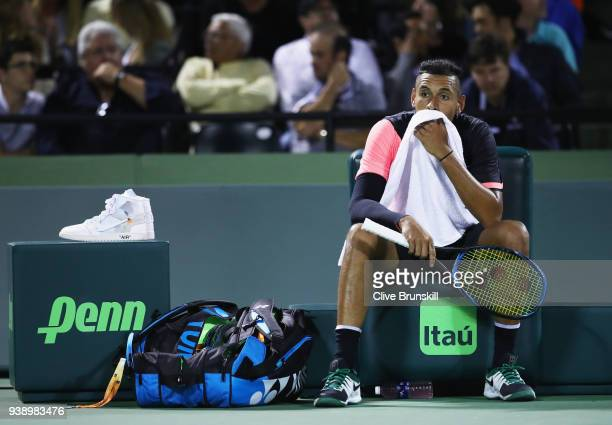 Nick Kyrgios of Australia shows his emotion against Alexander Zverev of Germany in their fourth round match during the Miami Open Presented by Itau...