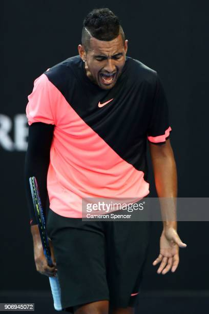 Nick Kyrgios of Australia shows his frustration in his third round match against JoWilfried Tsonga of France on day five of the 2018 Australian Open...