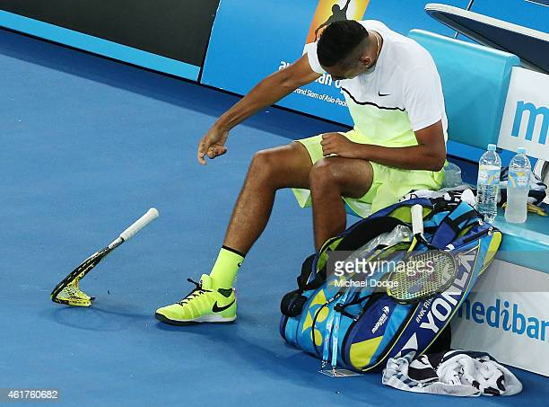 Nick Kyrgios of Australia smashes his racquet after losing a game in his first round match against Frederico Delbonis of Argentina during day one of...