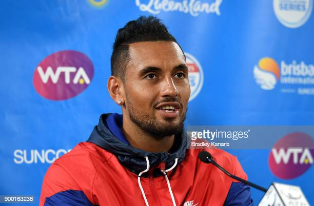 Nick Kyrgios of Australia speaks at a press conference during day two of the 2018 Brisbane International at Pat Rafter Arena on January 1 2018 in...