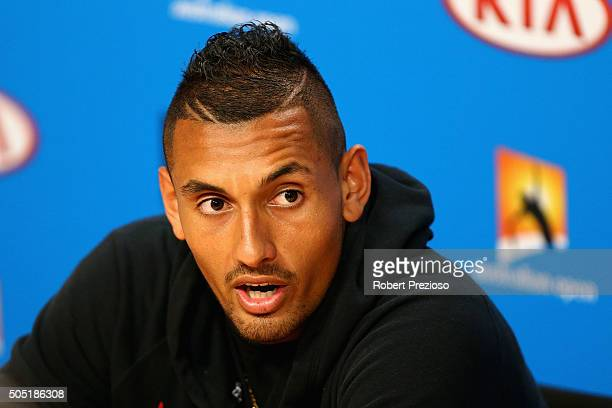 Nick Kyrgios of Australia speaks to media during a press conference ahead of the 2016 Australian Open at Melbourne Park on January 16 2016 in...